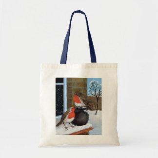 Robins in the snow budget tote bag