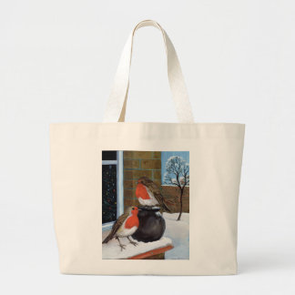 Robins in the snow jumbo tote bag