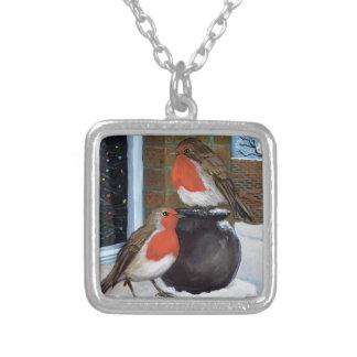 Robins in the snow square pendant necklace