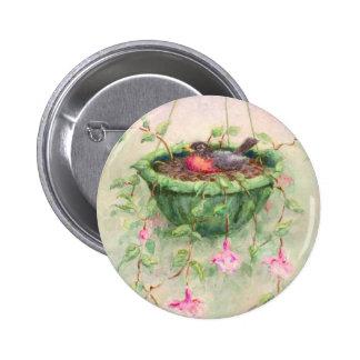 ROBIN'S NEST by SHARON SHARPE Pinback Button