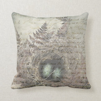 Robins Nest with french text. Throw Pillow