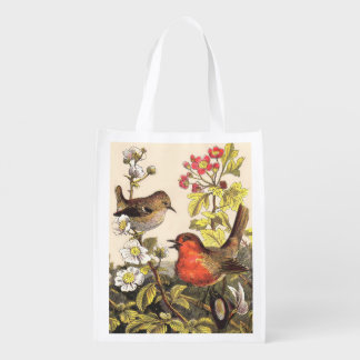 Robins spring vintage birds reusable grocery bag