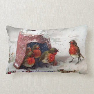 Robins Taking Shelter Under Flowerpot Vintage Xmas Lumbar Pillow