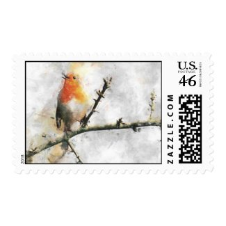 Robin's Winter Song Postage stamp