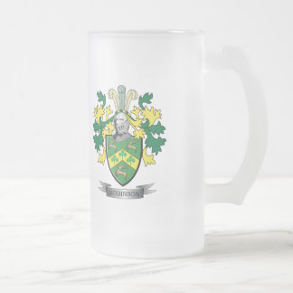 Robinson Coat of Arms Frosted Glass Beer Mug