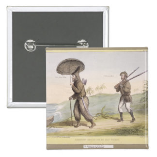 Robinson Crusoe and his Man Friday, (HB Sketches N Pinback Button