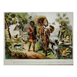 Robinson Crusoe and his man Friday Poster Print