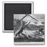 Robinson Crusoe carrying away 2 Inch Square Magnet