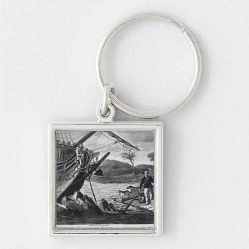 Robinson Crusoe carrying away Silver-Colored Square Keychain