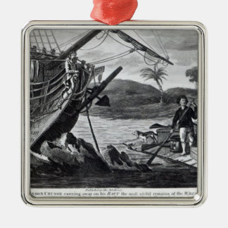 Robinson Crusoe carrying away Metal Ornament