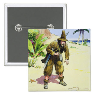 Robinson Crusoe, from 'Peeps into the Past', publi Pinback Button