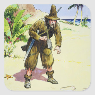 Robinson Crusoe, from 'Peeps into the Past', publi Square Sticker