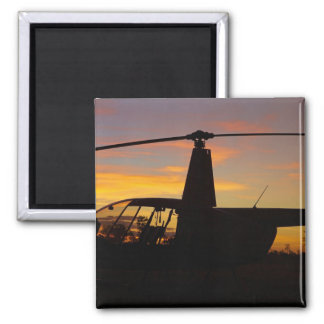 Robinson R44 helicopter at sunset Magnet