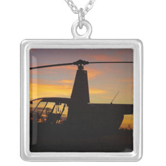 Robinson R44 helicopter at sunset Custom Necklace