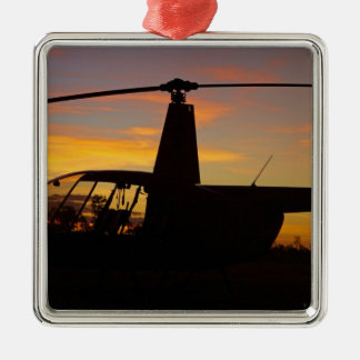 Robinson R44 helicopter at sunset Christmas Tree Ornament
