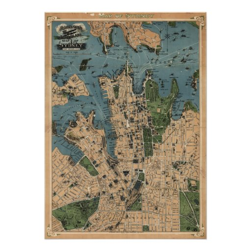 Robinson's map of Sydney, NSW (1922) Reprint Print