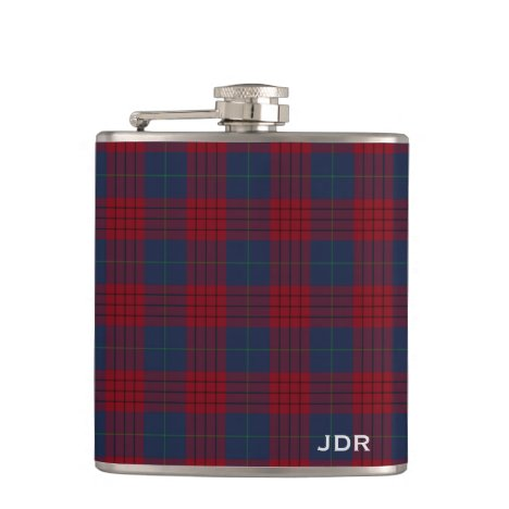 Robinson Tartan Monogram Navy Blue and Red Plaid Flask