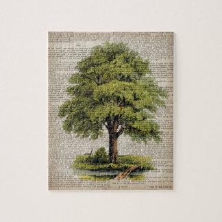 roble botánico francés del vintage del arte del puzzles con fotos