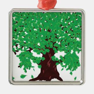 Roble con las hojas verdes adorno navideño cuadrado de metal