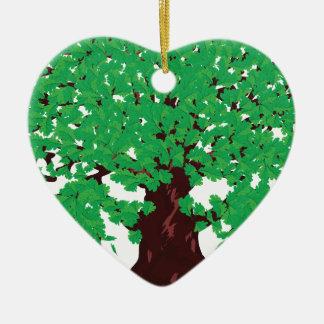 Roble con las hojas verdes adorno navideño de cerámica en forma de corazón