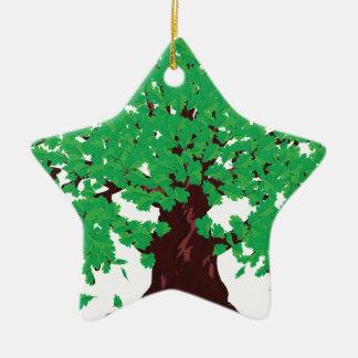 Roble con las hojas verdes adorno navideño de cerámica en forma de estrella