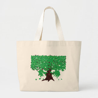 Roble con las hojas verdes bolsa tela grande