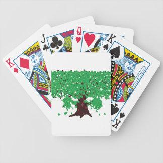 Roble con las hojas verdes cartas de juego