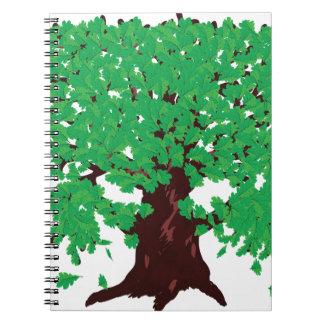 Roble con las hojas verdes libreta espiral