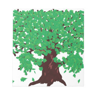 Roble con las hojas verdes libretas para notas