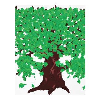 Roble con las hojas verdes membrete personalizado
