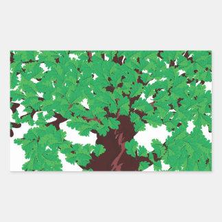 Roble con las hojas verdes pegatina rectangular