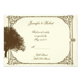 Roble de Brown del vintage en la tarjeta poner cre Comunicado Personal