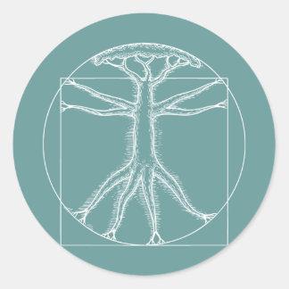 Roble de Vitruvian Pegatina Redonda