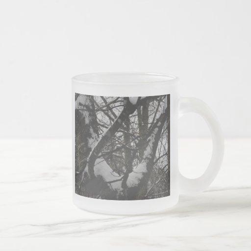 Roble en el invierno taza de cristal