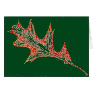 """""""Roble en rojo en"""" tarjeta de felicitación verde"""