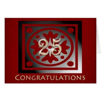 Roble rojo elegante del 25to aniversario del tarjeta de felicitación