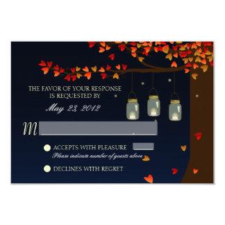 Roble RSVP de las luciérnagas del tarro de albañil Invitación 8,9 X 12,7 Cm