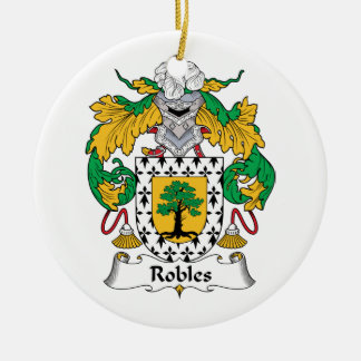 Robles Family Crest Double-Sided Ceramic Round Christmas Ornament