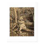 Robo de amantes del beso de una pesca del vintage tarjeta postal