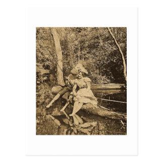 Robo de amantes del beso de una pesca del vintage tarjetas postales