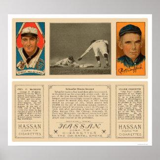 Robo de segundos senadores Baseball 1912 Póster