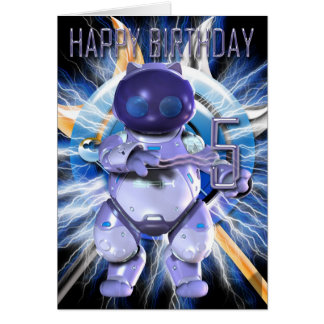 Robo Kitty 5th Birthday card, robot, cat