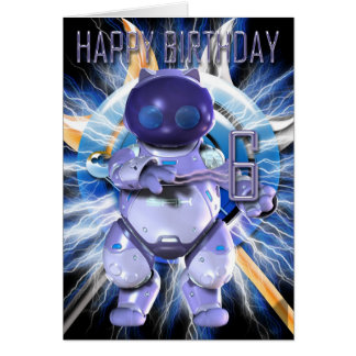 Robo Kitty, Robot Cat Birthday for 6 year old Card