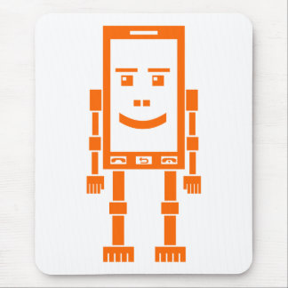 Robo Phone - Orange on White Mouse Pad