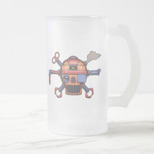 Robo Pirate II Frosted Glass Beer Mug
