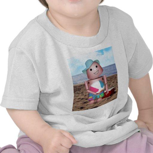 Robo-x9 bronceó escena de la playa camiseta