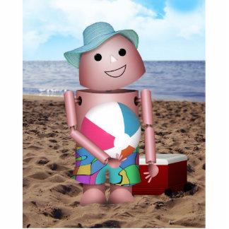 Robo-x9 bronceó escena de la playa esculturas fotográficas