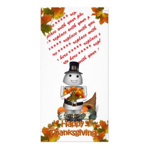 Robo-x9 celebra acción de gracias tarjeta personal