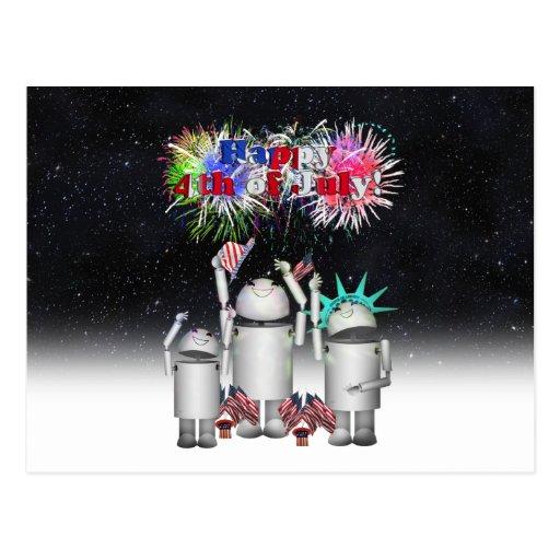 Robo-x9 Celebrates the 4th of July Night Sky Postcard
