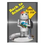 Robo-x9 en la parada de autobús escolar tarjetas postales